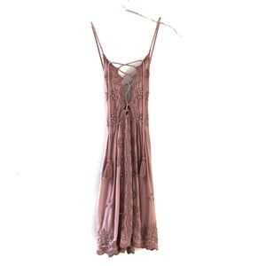 Free People Lace Up Beaded Embroidery Mini Dress M
